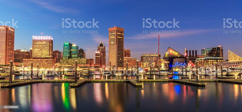 Inner Harbor Baltimore Maryland at night stock photo