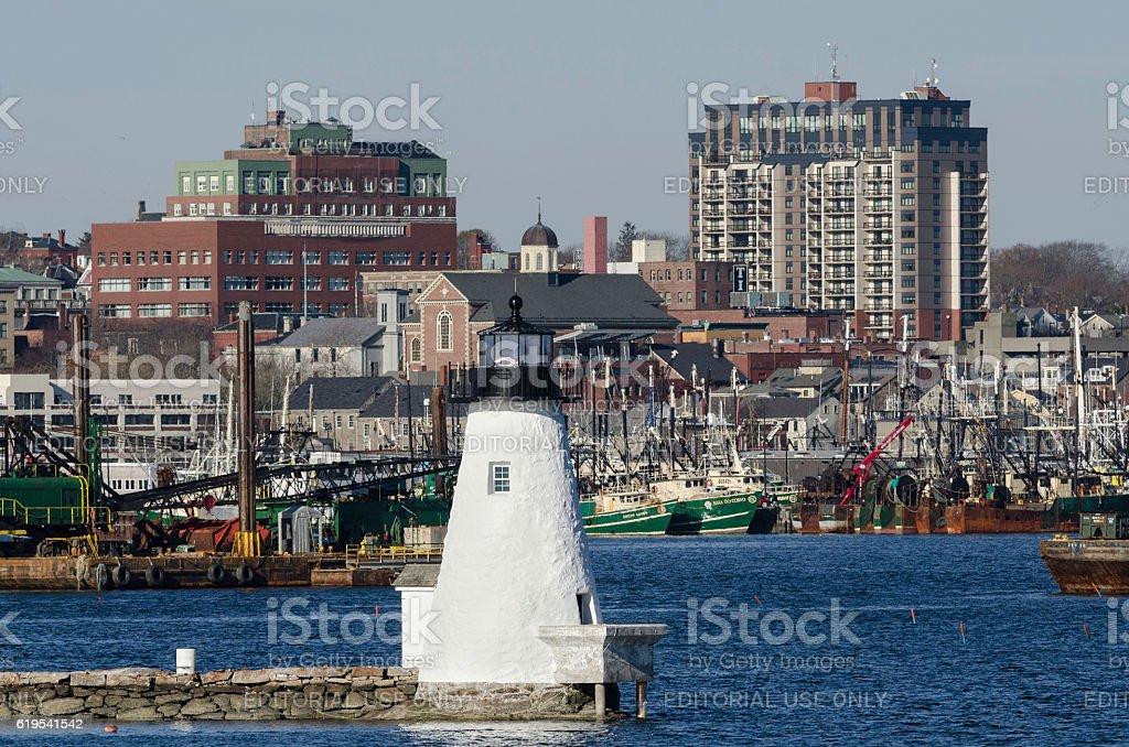 Inner harbor lighthouse stock photo