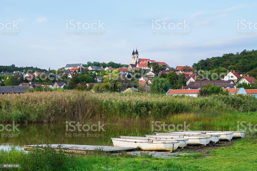 Inner Lake in Tihany with boats, Hungary stock photo