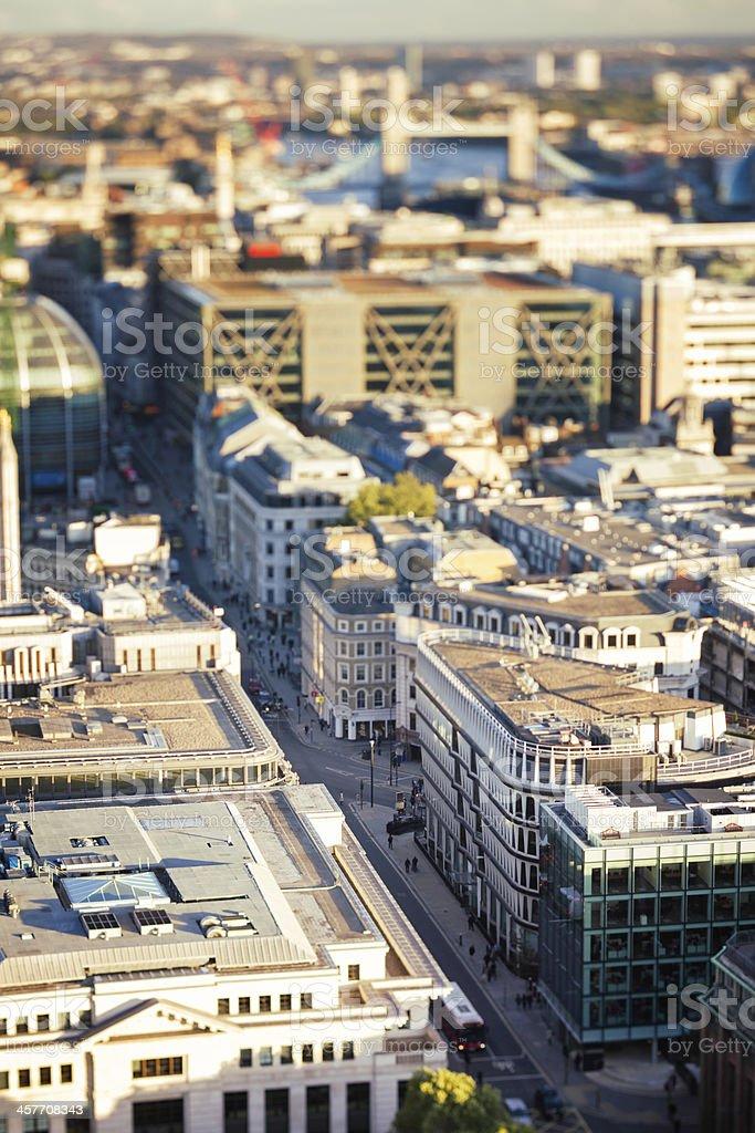 Inner London Street Tilt Shift miniature effect royalty-free stock photo