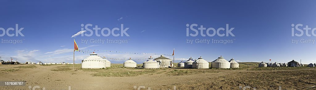 Inner Mongolia remote grassland yurt village tent homes panorama China royalty-free stock photo