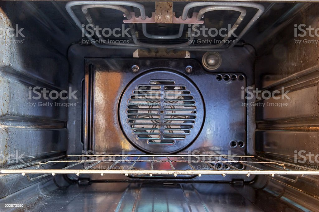 inner part used electric ovens stock photo