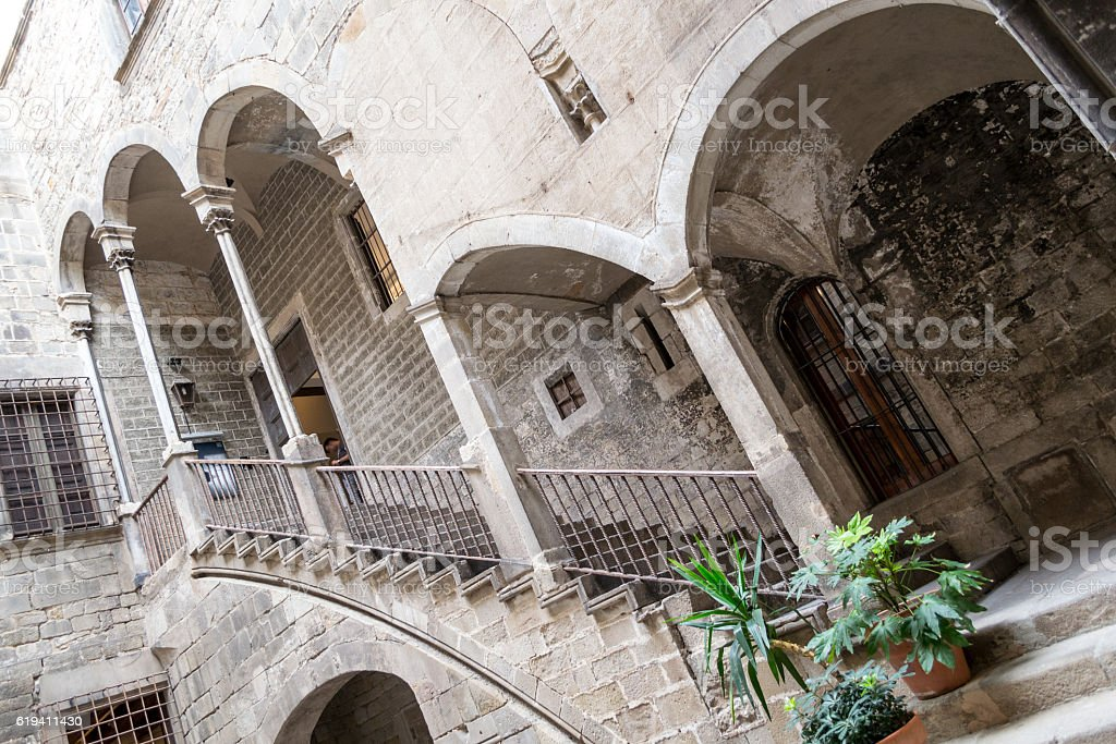 Inner Patio in the Gothic quarters of Barcelona stock photo