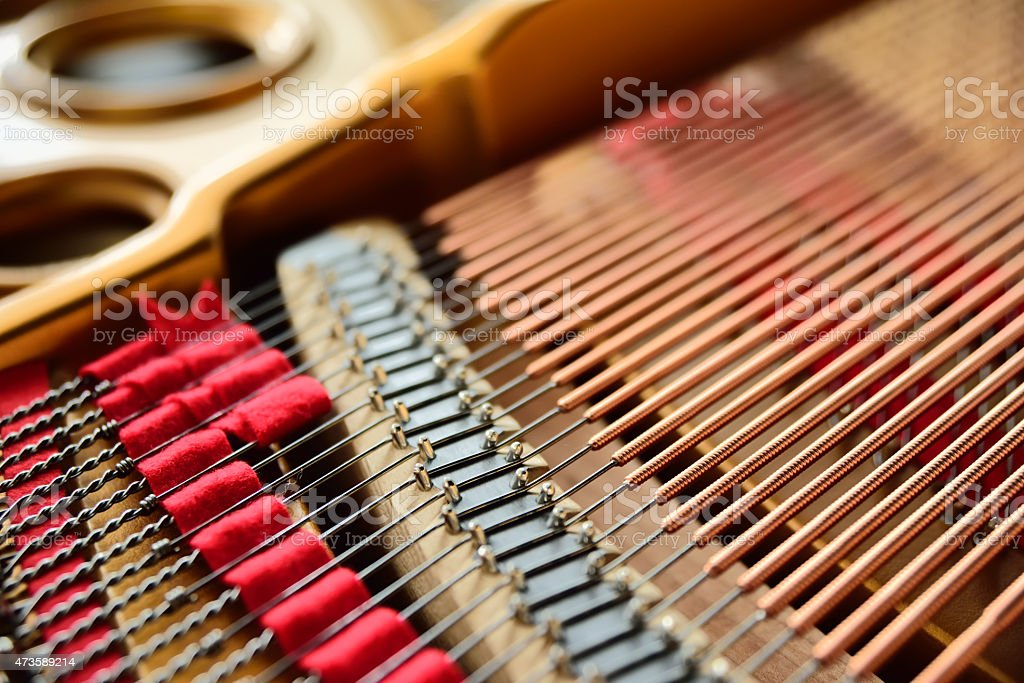 inner structure of piano stock photo