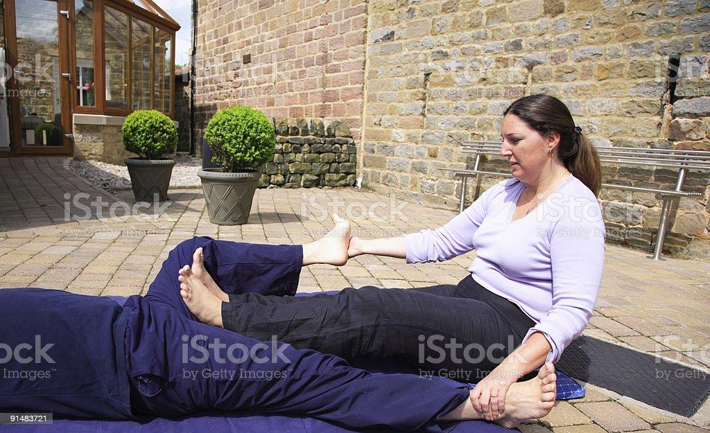 Inner thigh stretch stock photo
