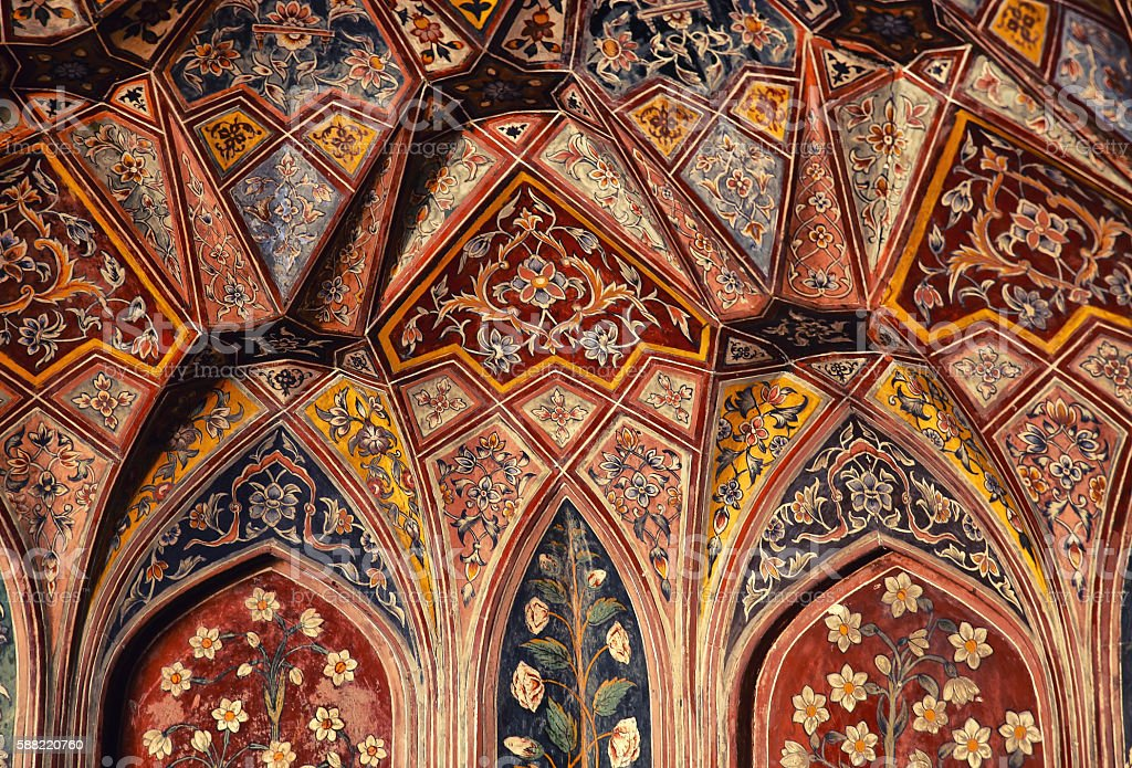 Inner view of Historical Masjid Wazir Khan, Lahore stock photo