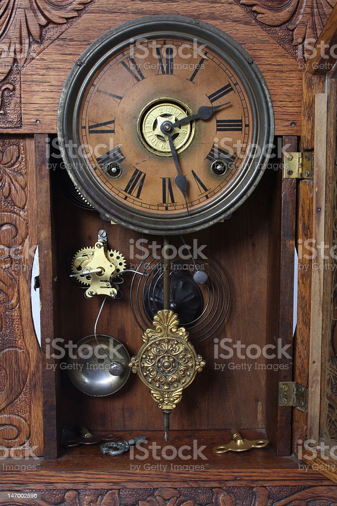 Inner Workings of an Antique Clock stock photo