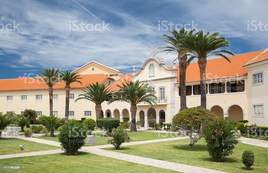Inner yard of Estoril Matriz Church, Portugal. stock photo