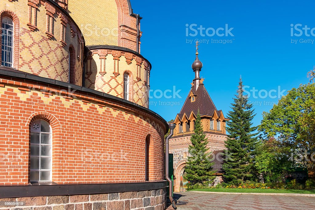Inner yard of Kuremae Dormition Convent. Estonia, EU stock photo
