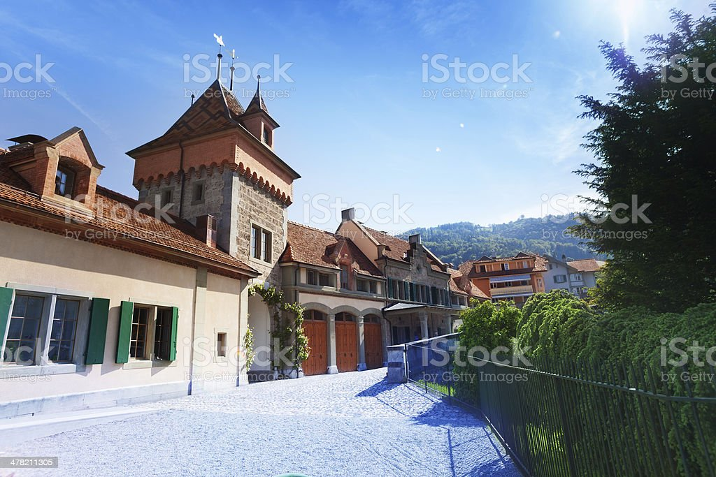 Inner yard of Oberhofen royalty-free stock photo