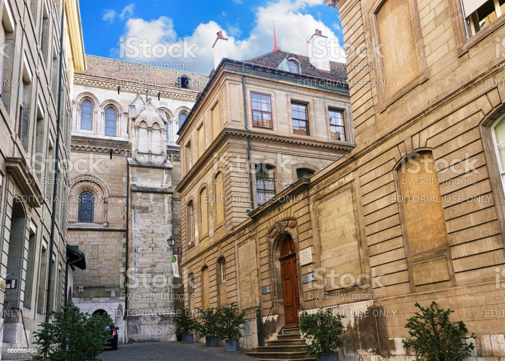 Inner yard of St Pierre Cathedral in Geneva Swiss stock photo