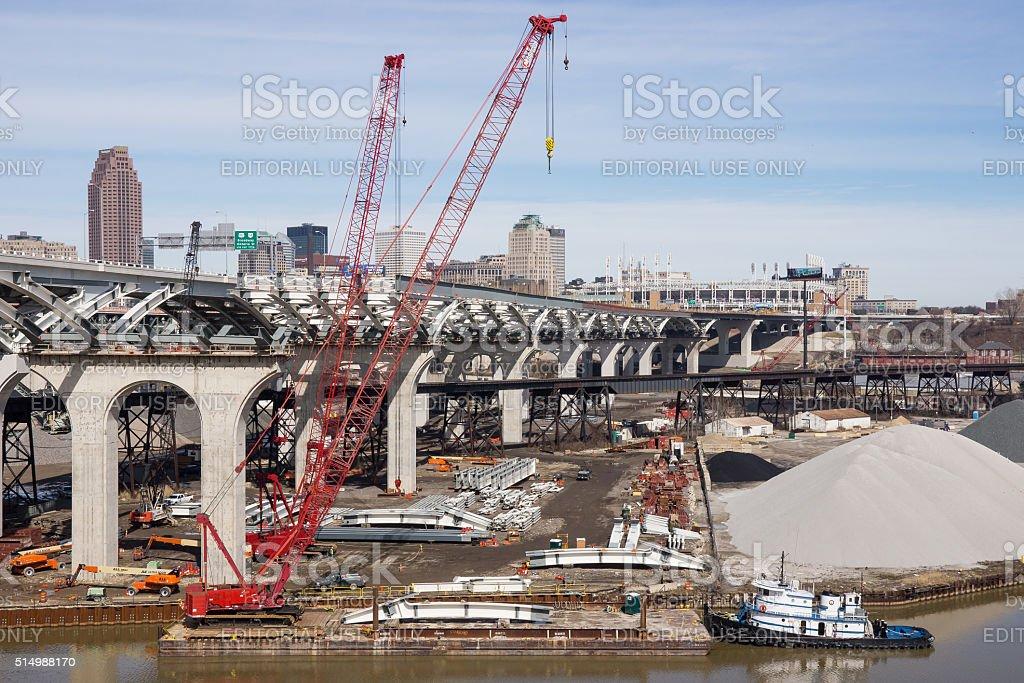 Innerbelt Bridge Construction stock photo