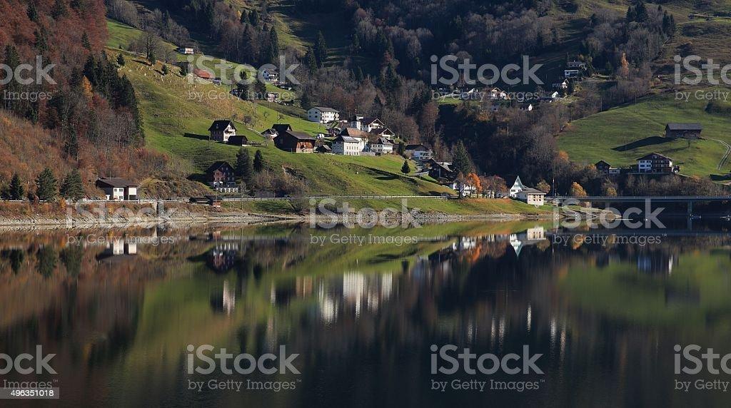 Innerthal, little village in Schwyz Canton mirroring in lake Wagital stock photo