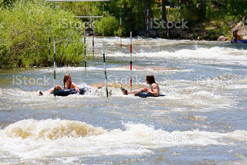 Innertube action at the Golden Colorado Whitewater Park royalty-free stock photo