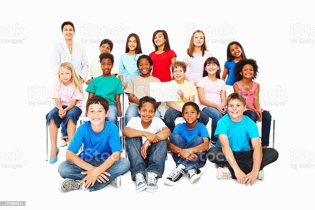 Innocent multi ethnic kids with billboard on white background royalty-free stock photo