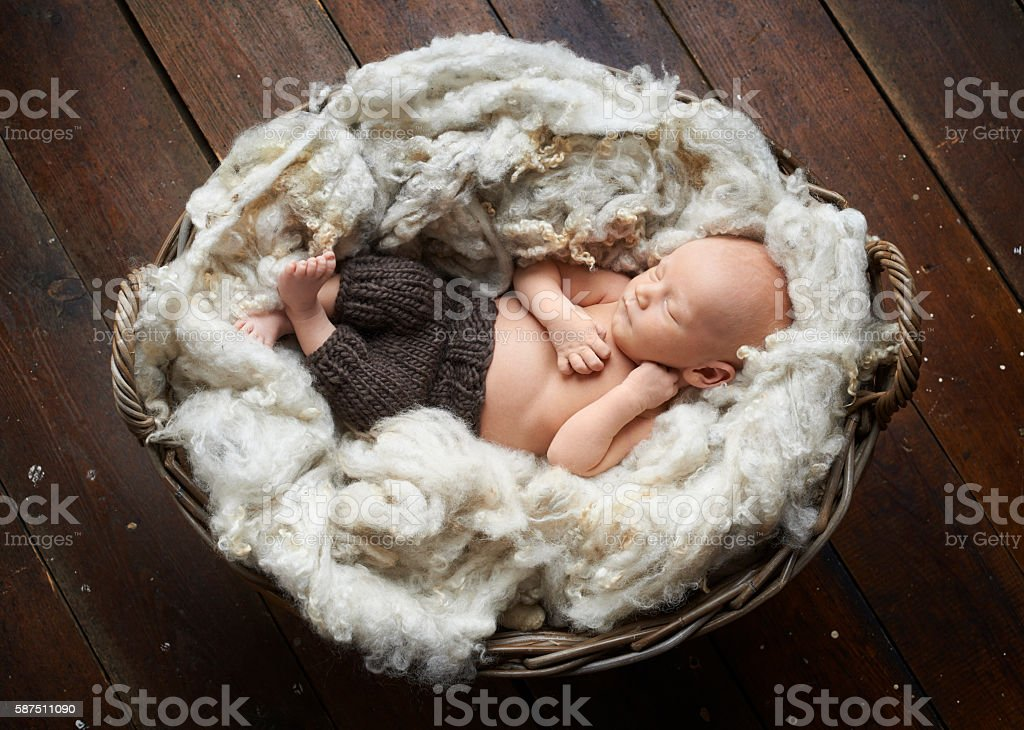Innocent newborn baby sleeping stock photo