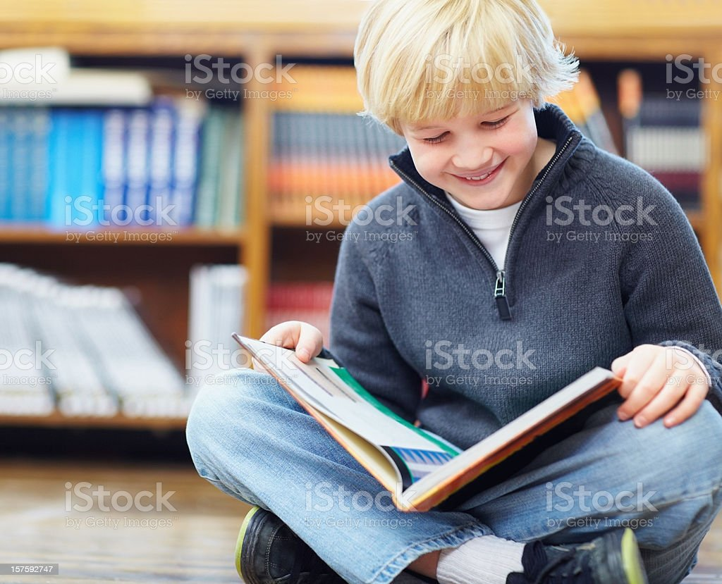 Innocent young boy reading a story book royalty-free stock photo