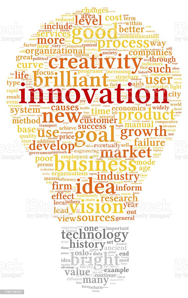 Innovation and technology concept  in tag cloud stock photo