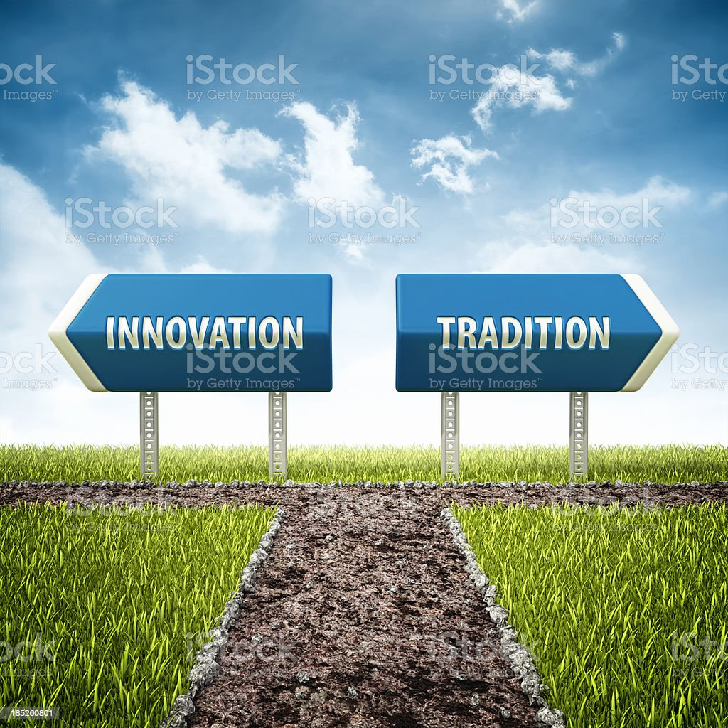 innovation and tradition crossroad royalty-free stock photo
