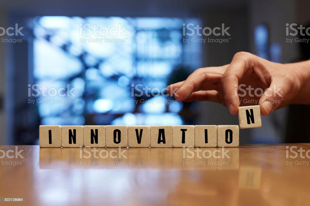 Innovation Concept with Alphabet Blocks stock photo