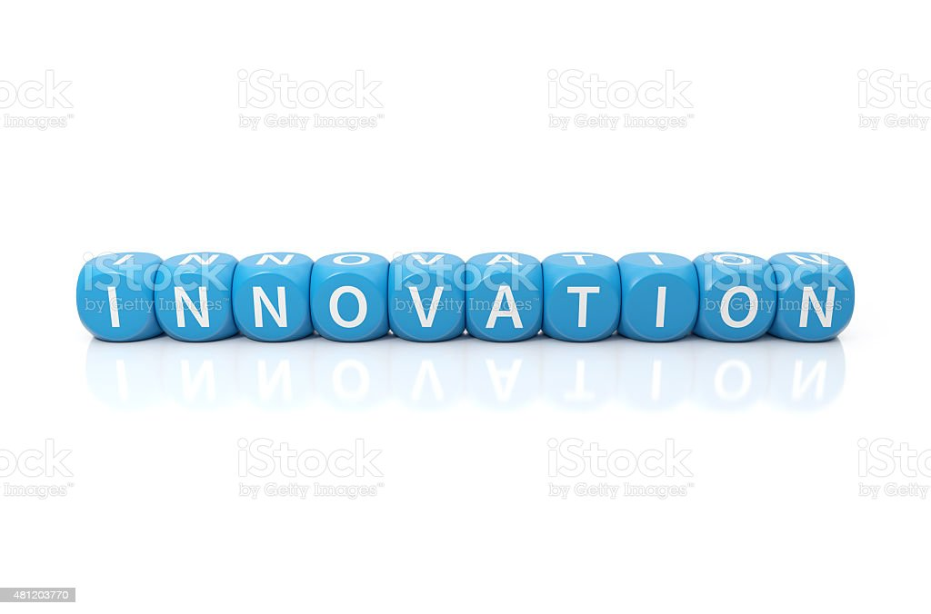 Innovation dices blue stock photo