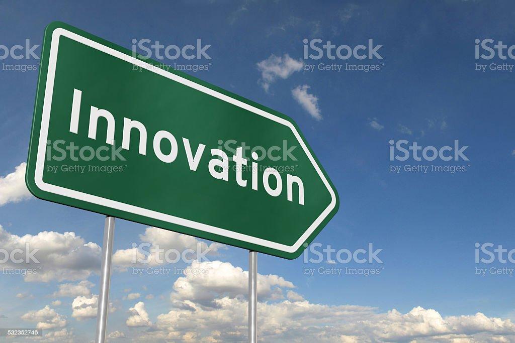 Innovation green arrow highway road sign stock photo