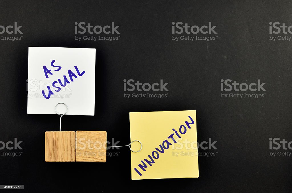 Innovation, two paper notes on black background for presentation royalty-free stock photo