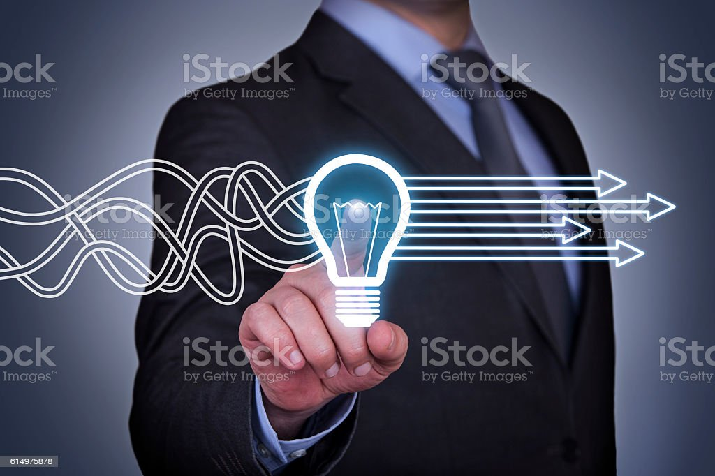 Innovative idea solution concept on touch screen stock photo