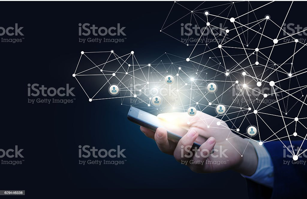 Innovative management of the personnel in the network stock photo
