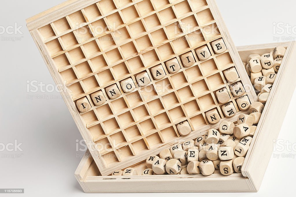 innovative wooden letters stock photo