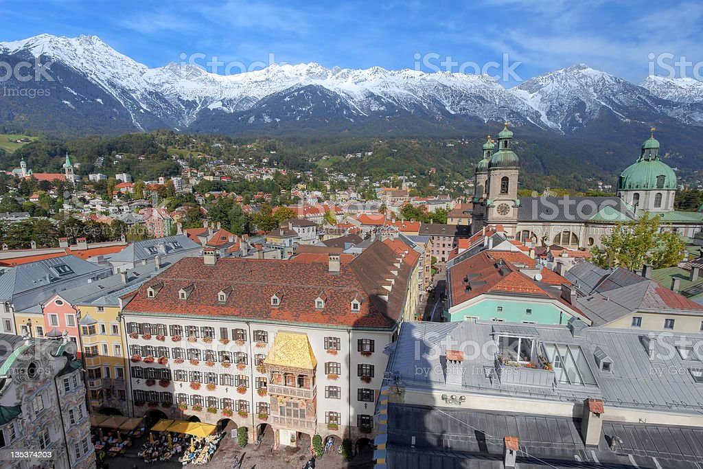 Innsbruck aerial, Austria stock photo