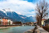 Innsbruck and Inn river with bridge in Tirol, Austria