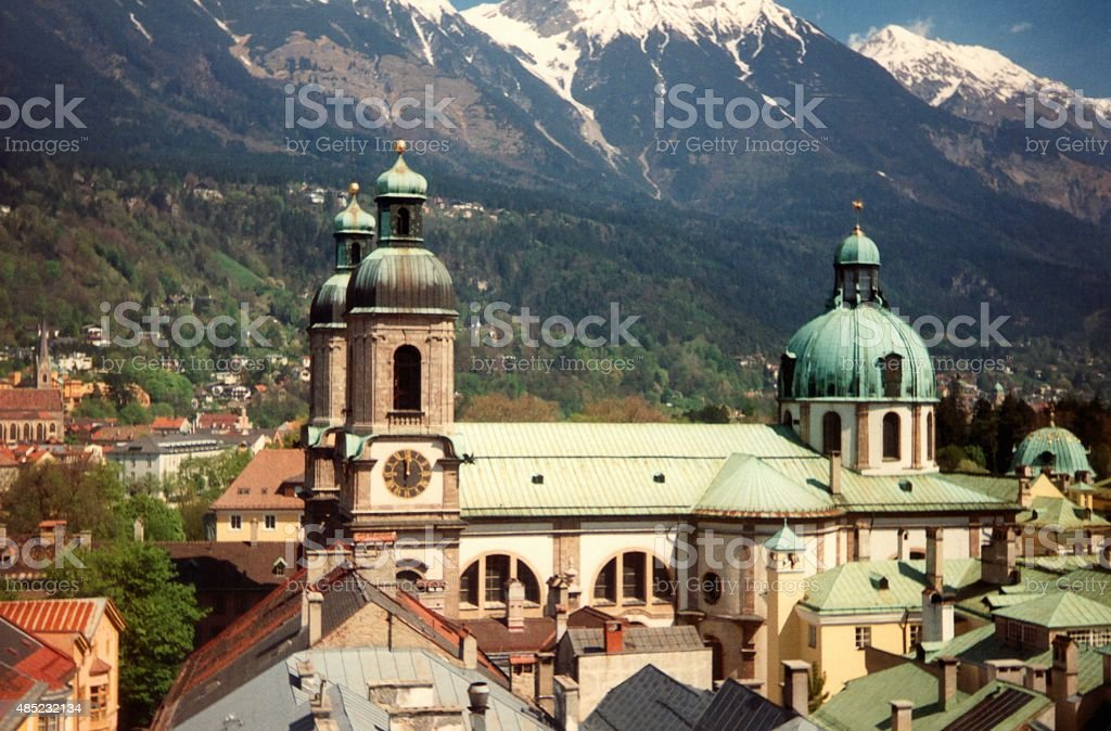 Innsbruck cathedral, Austria stock photo