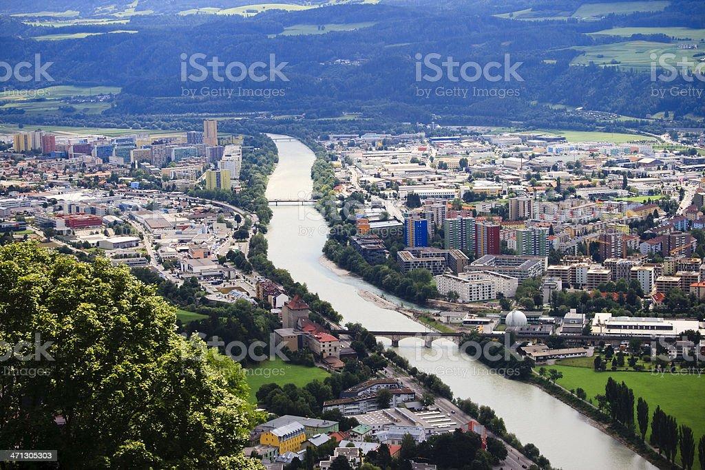 Innsbruck city scape in Tyrol, Austria stock photo