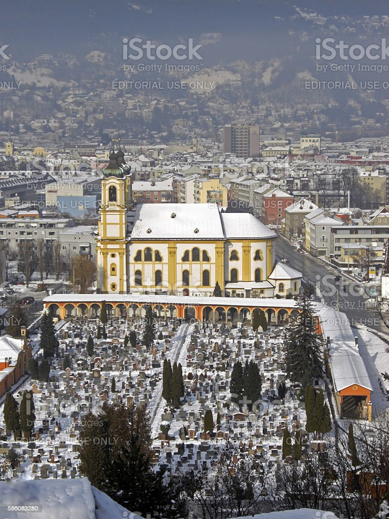 Innsbruck in winter with snow on rooftops, Austria, 2012 stock photo