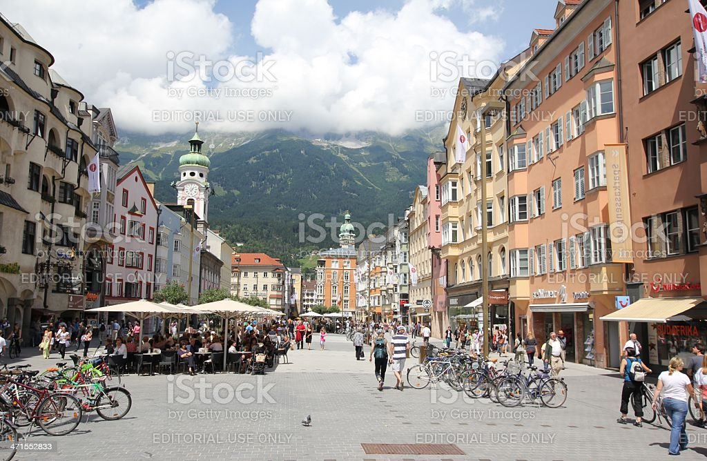 Innsbruck, Maria-Theresien-Strasse, Summer royalty-free stock photo