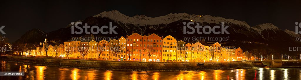 Innsbruck night panorama stock photo