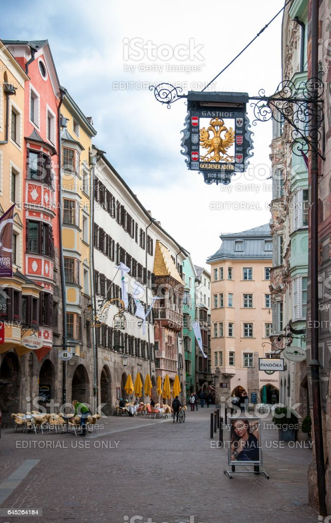 Innsbruck old city and Golden Roof stock photo