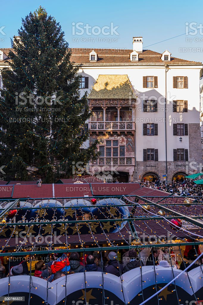 Innsbruck (Austria). The Golden Roof and stalls of  Christmas market stock photo
