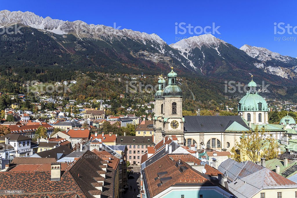 Innsbruck, view over city, Tyrol royalty-free stock photo
