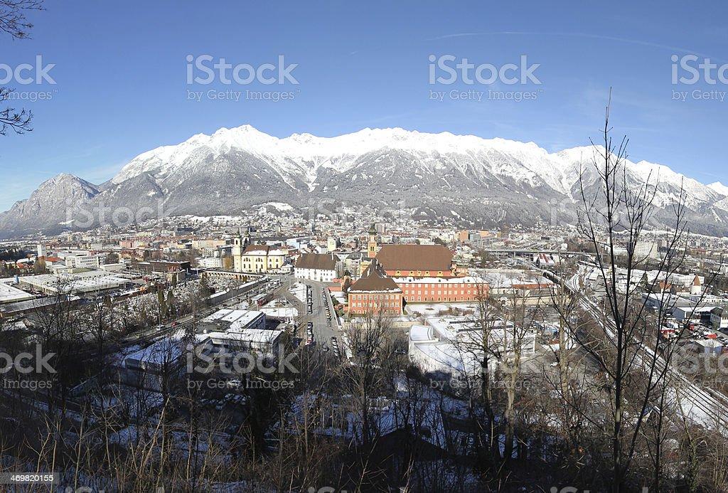 Innsbruck, Winter Panorama, Inntal and Nordkette, Tyrol, Austria stock photo