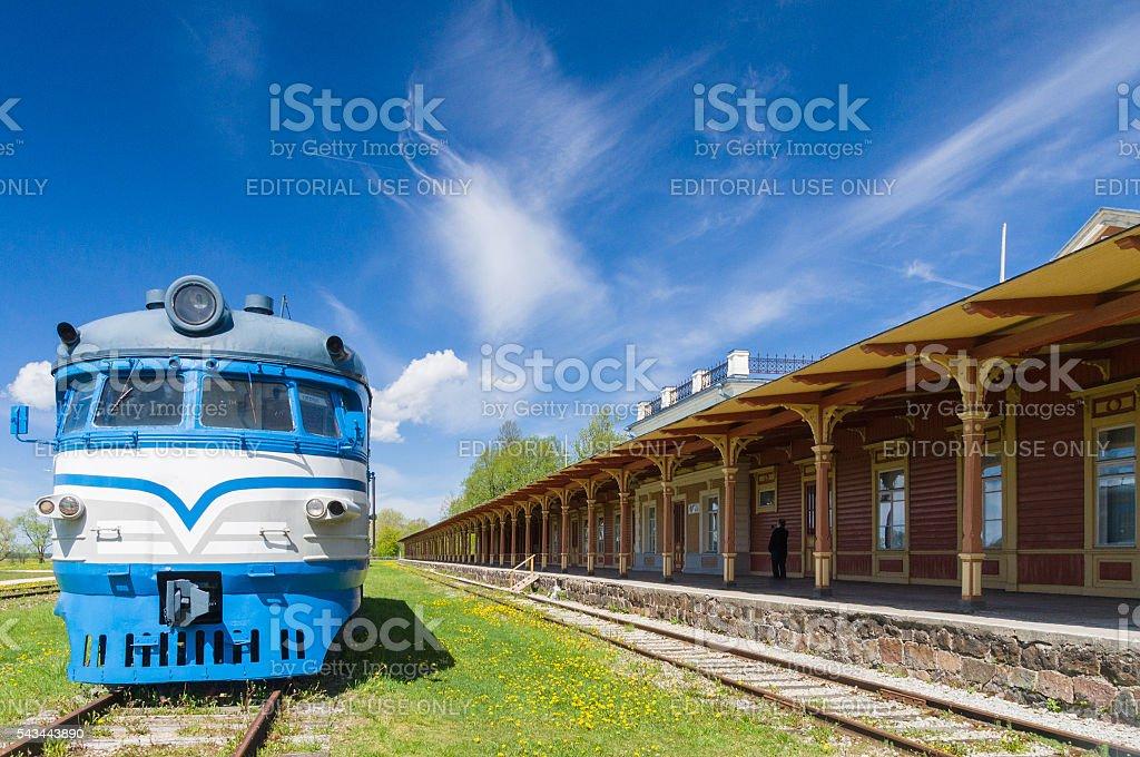Inoperative railway station in Haapsalu, Estonia stock photo