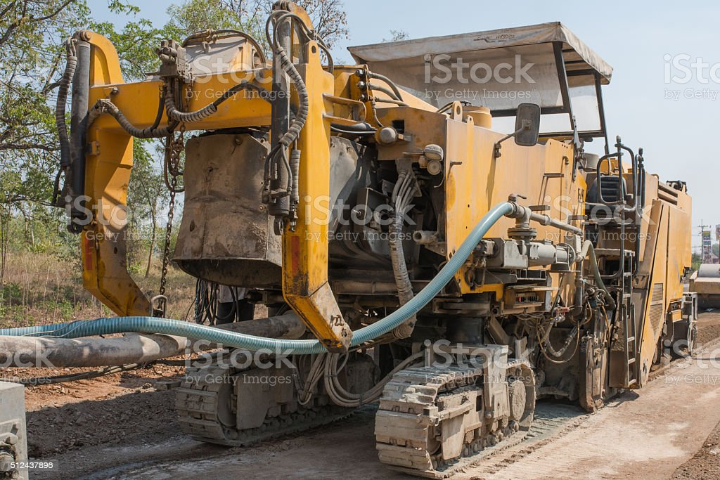 In-place pavement recycling stock photo