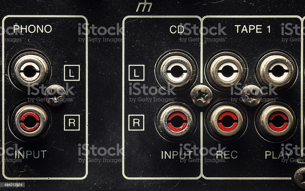 Inputs on an old Amplifier stock photo