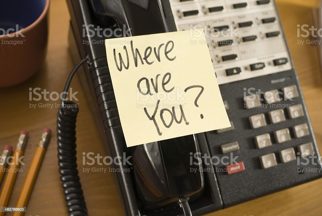 Inquiry on a telephone receiver royalty-free stock photo
