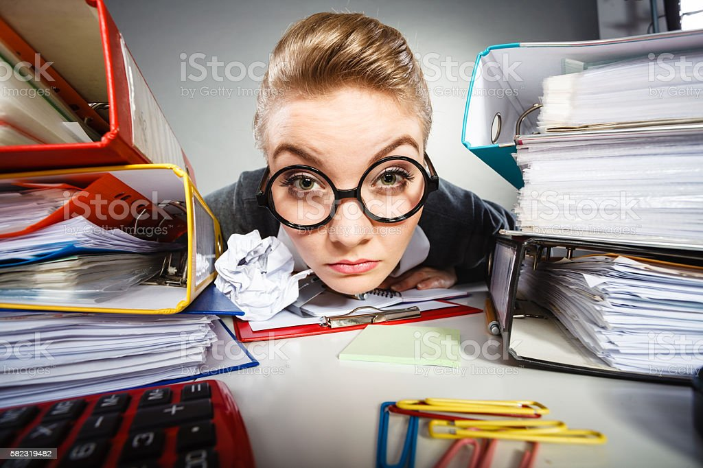 Insane office woman at work. stock photo
