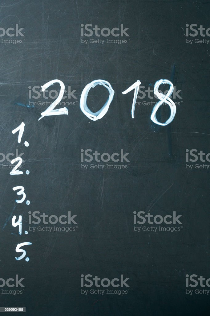 inscription 2018 do it list drawn with chalk on a stock photo
