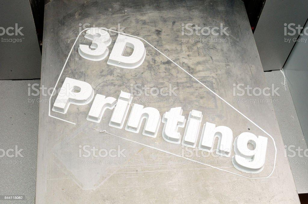 inscription '3d printing', made on the 3d printer plastic pla stock photo