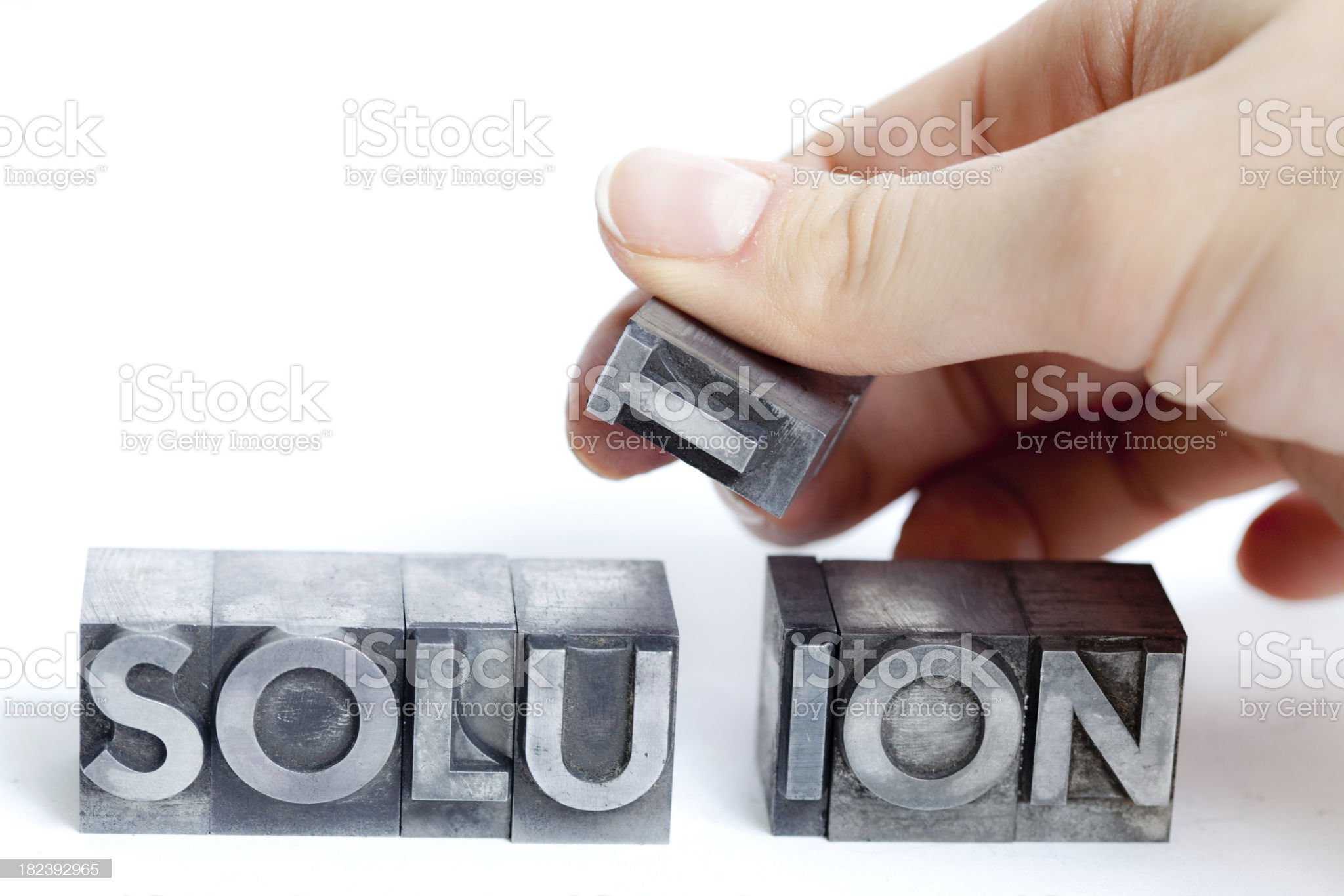 SOLUTION inscription, block letters royalty-free stock photo