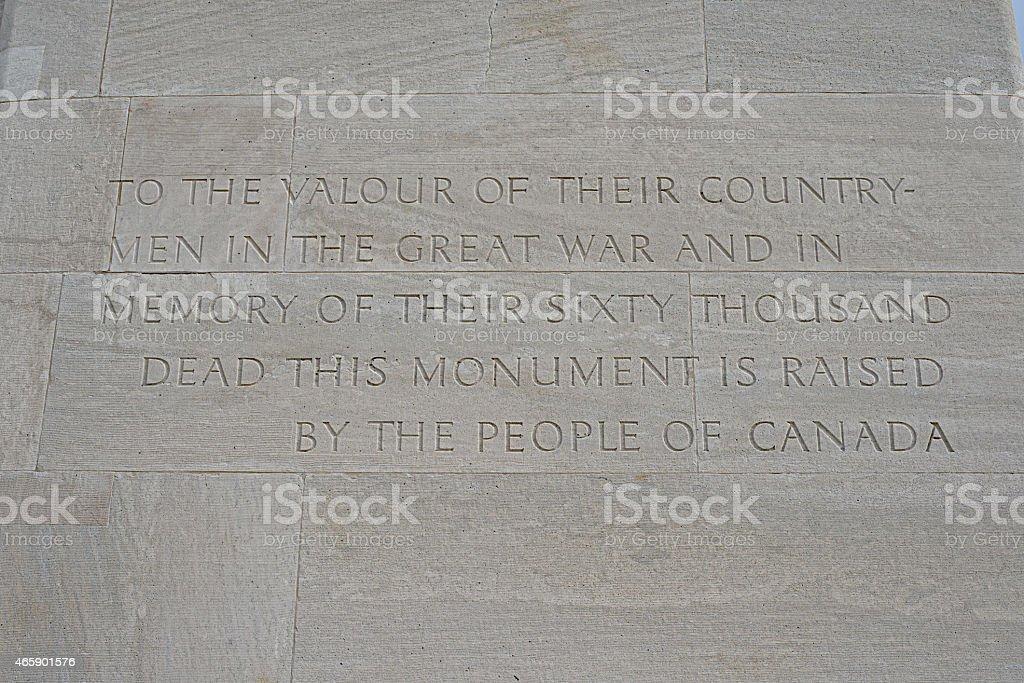 Inscription, Canadian War Memorial, Vimy Ridge stock photo